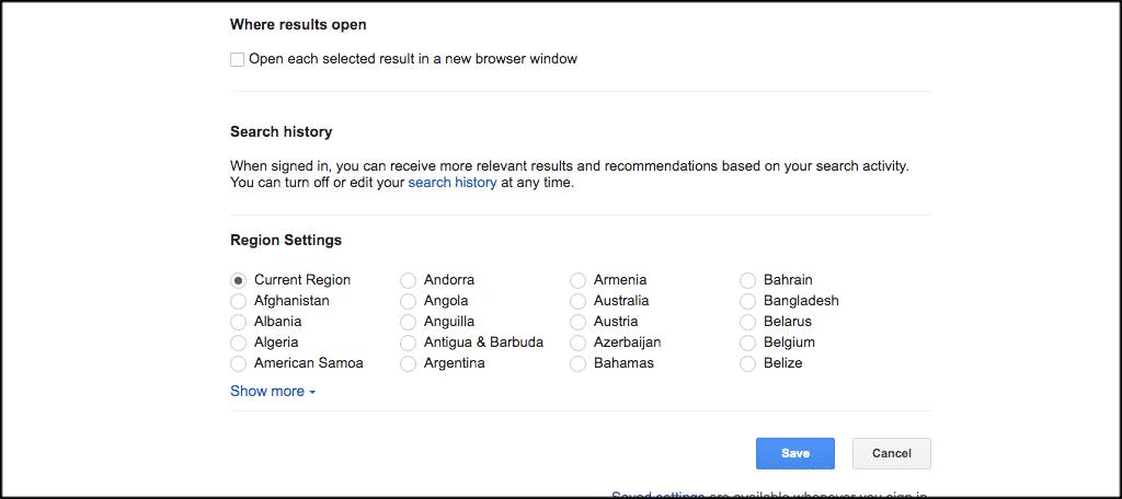 Scroll down to region settings