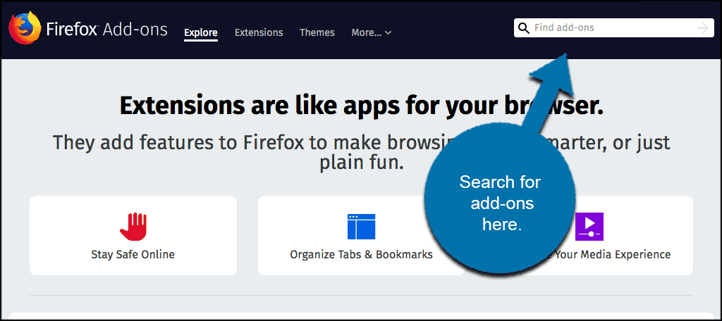 Search for add ons in the search box