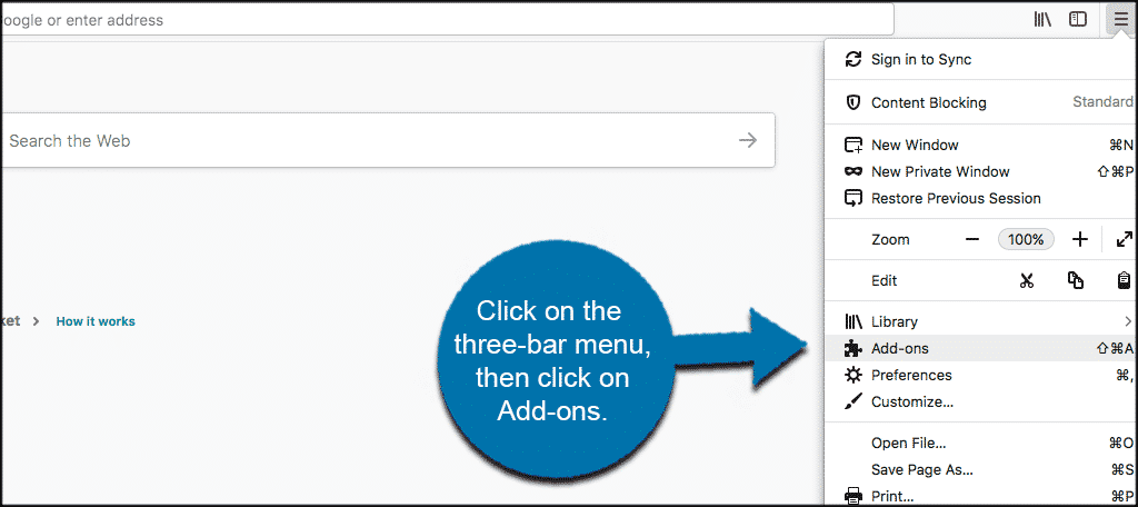 Click on the three bar menu in firefox browser then click on add ons