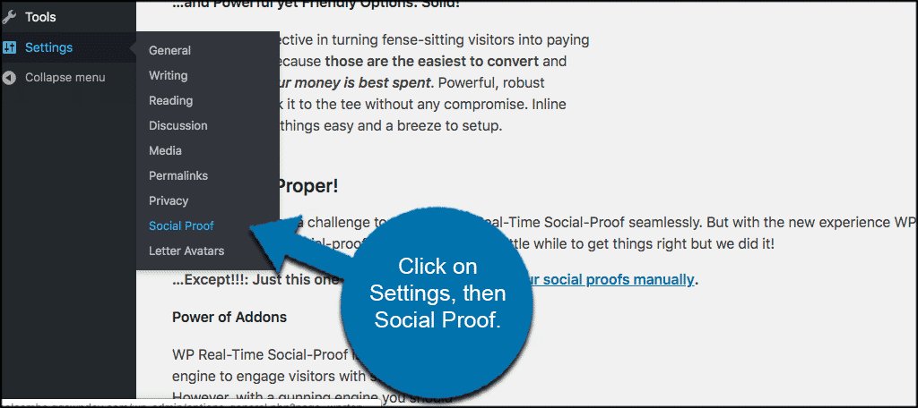 Click on settings then social proof