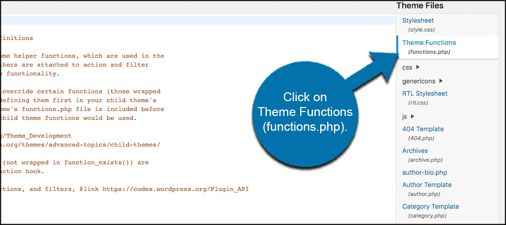 Click on the theme functions file