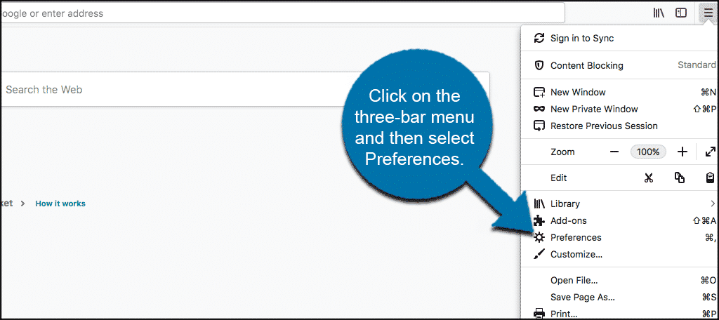 Click on the three bar menu and then click on preferences in the firefox browser