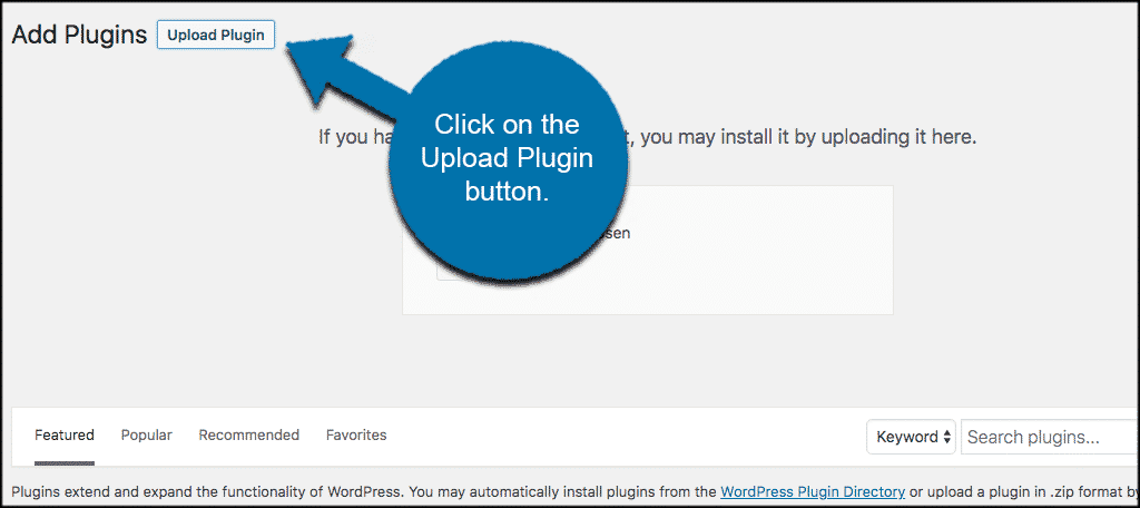 Click on the upload plugin button