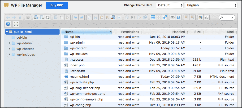 WP file manager files