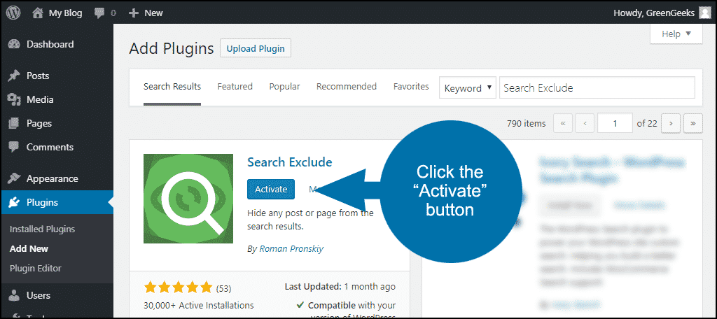 how to exclude posts or pages from WordPress search step 3