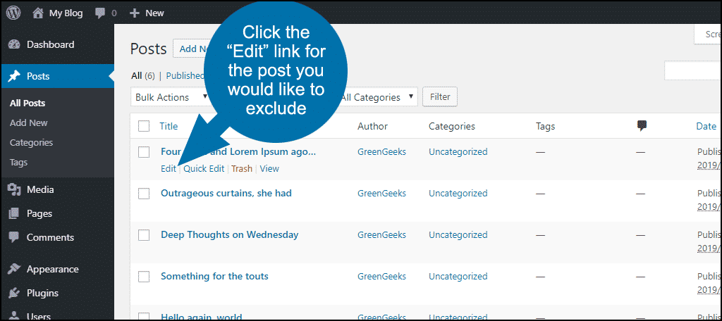 how to exclude posts or pages from WordPress search step 4