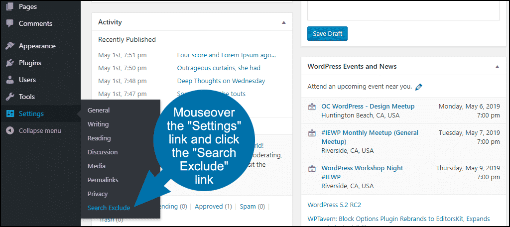 how to exclude posts or pages from WordPress search step 8