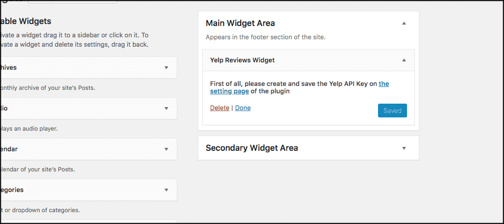 Yelp reviews widget settings