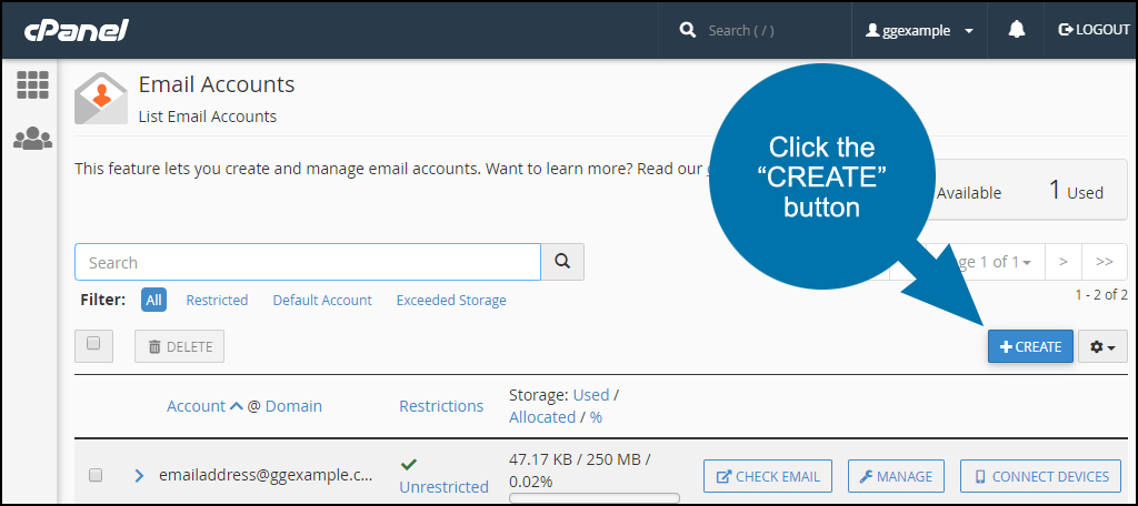 set up an email account in cPanel, step 2