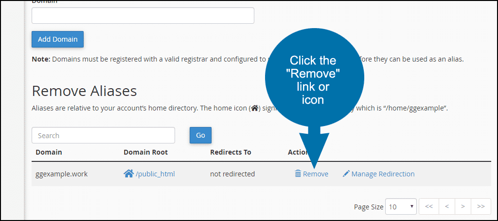"click the ""Remove"" link or icon"