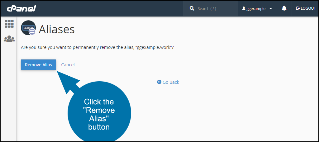 "click the ""Remove Alias"" button"