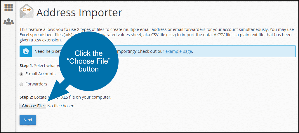 cPanel email address importer, step 2