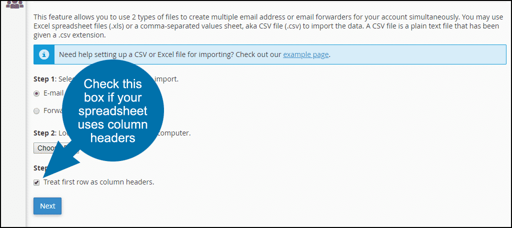 cPanel email address importer, step 3