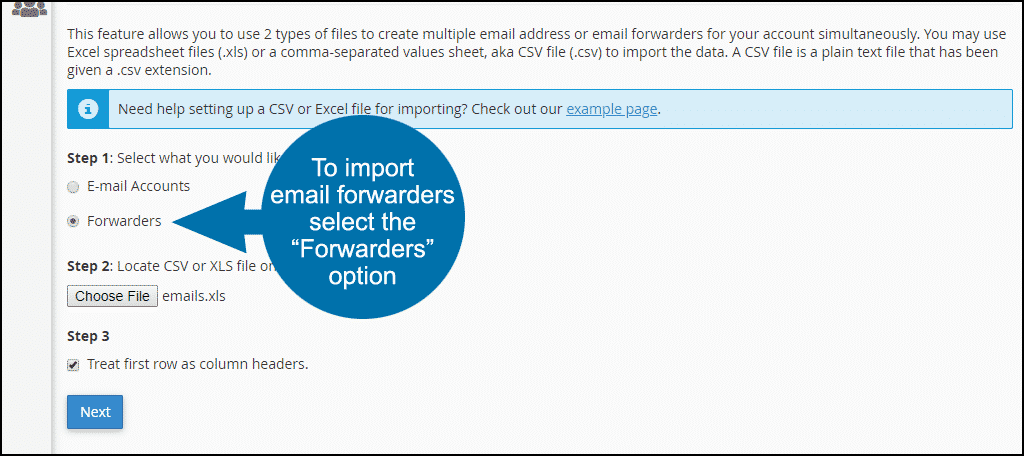cPanel email forwarder importer, step 2
