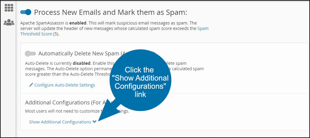 """Click the """"Show Additional Configurations"""" link, step 2"""