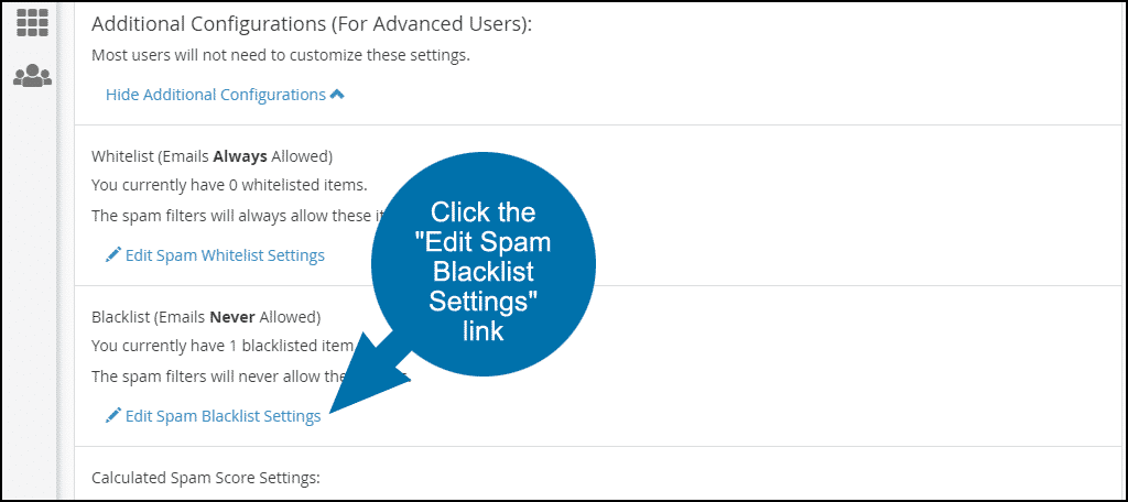 "Click the ""Edit Spam Blacklist Settings"" link, step 3"
