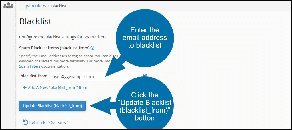 "Click the ""Update Blacklist (blacklist_from)"" button, step 5"