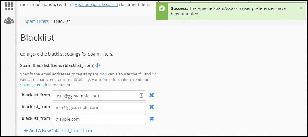 Success message, step 6