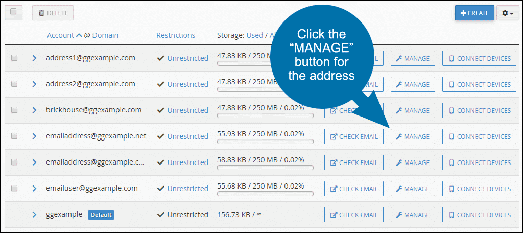 cPanel email disk usage, step 7
