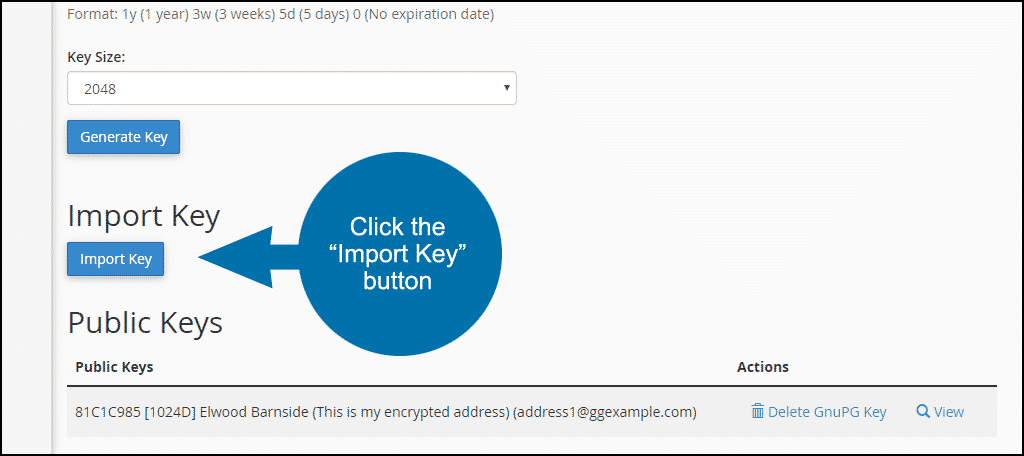 """click the """"import key"""" button"""