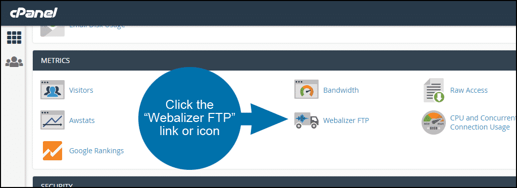 using Webalizer FTP to view FTP statistics in cPanel