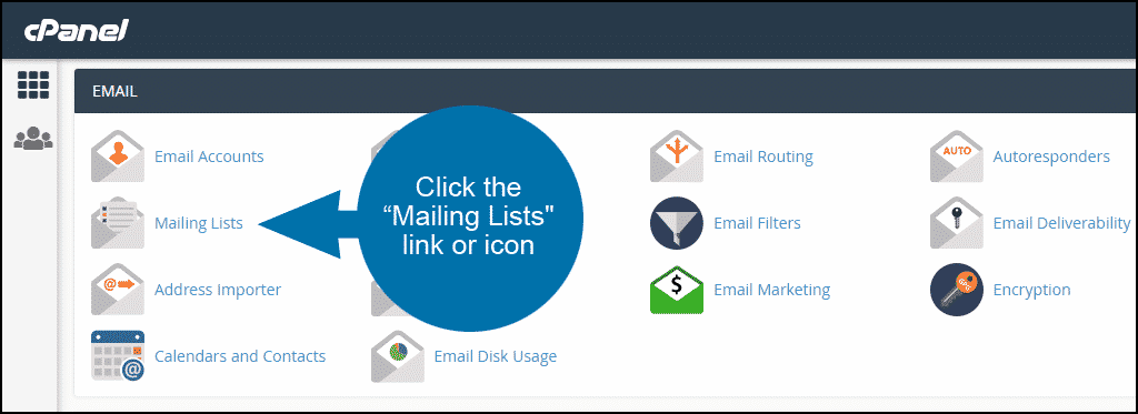 setting up a mailing list in cPanel, step 1