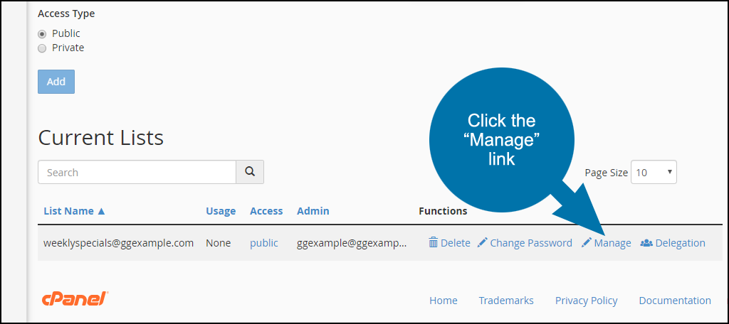 setting up a mailing list in cPanel, step 5