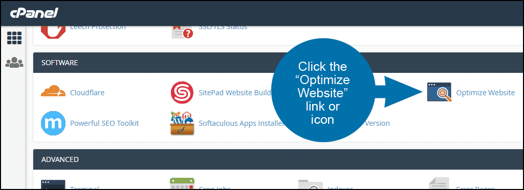 how to optimize website content in cPanel