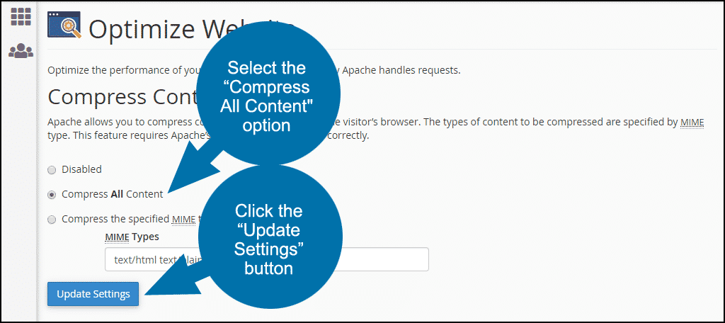 """select the """"compress all content"""" option, and click the """"update settings"""" button"""