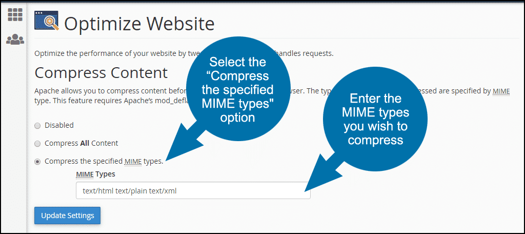 "select the ""Compress the specified MIME types"" option"