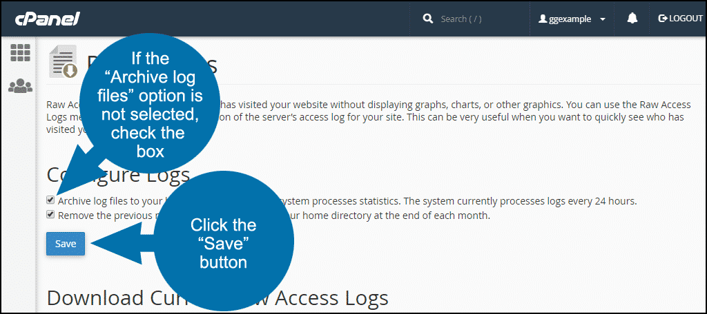 """if the """"Archive log files"""" option is not selected, check the box and click the """"Save"""" button"""