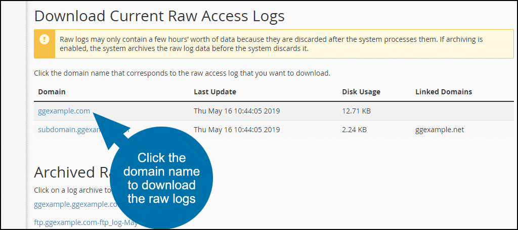 click the domain name to download the raw logs