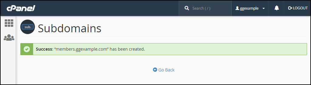 create a subdomain in cPanel success message