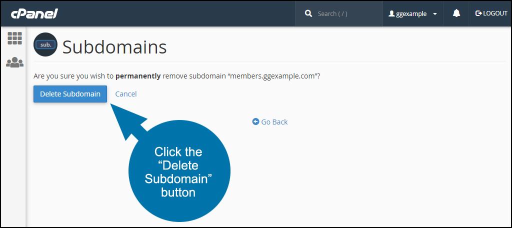 """click the """"Delete Subdomain"""" button"""