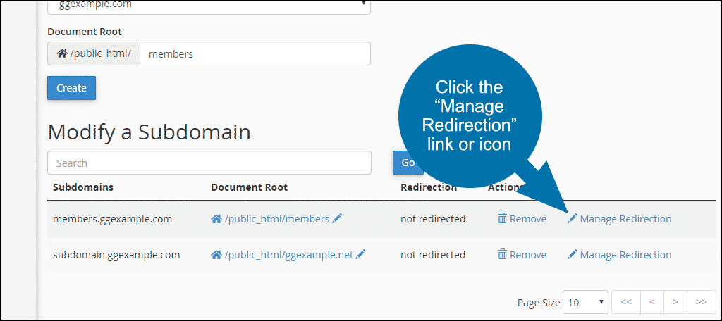to redirect a subdomain
