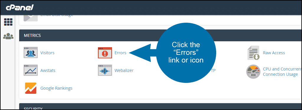 viewing website error logs in cPanel