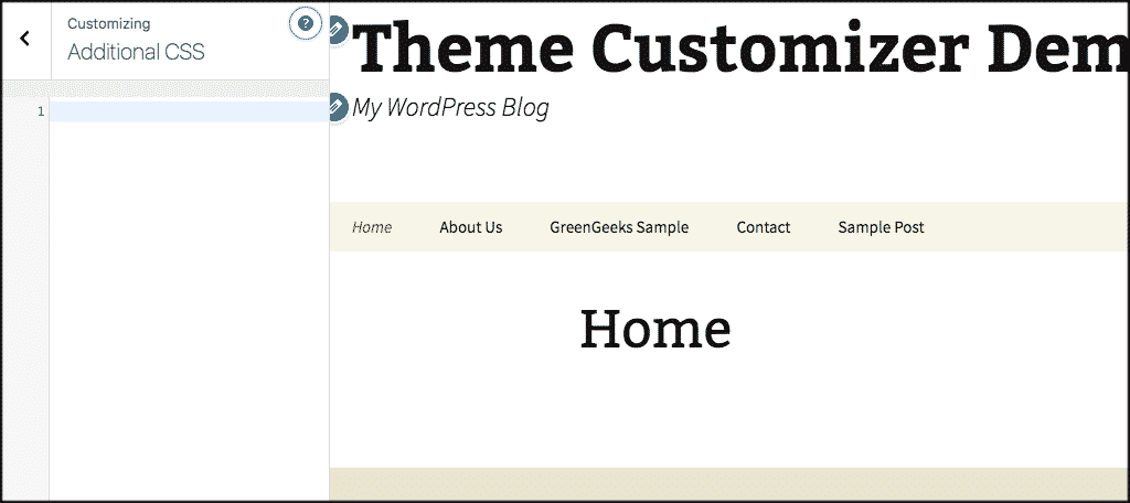 Additional css panel in wordpress theme customizer