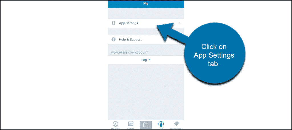 Click on app settings tab in wordpress mobile app