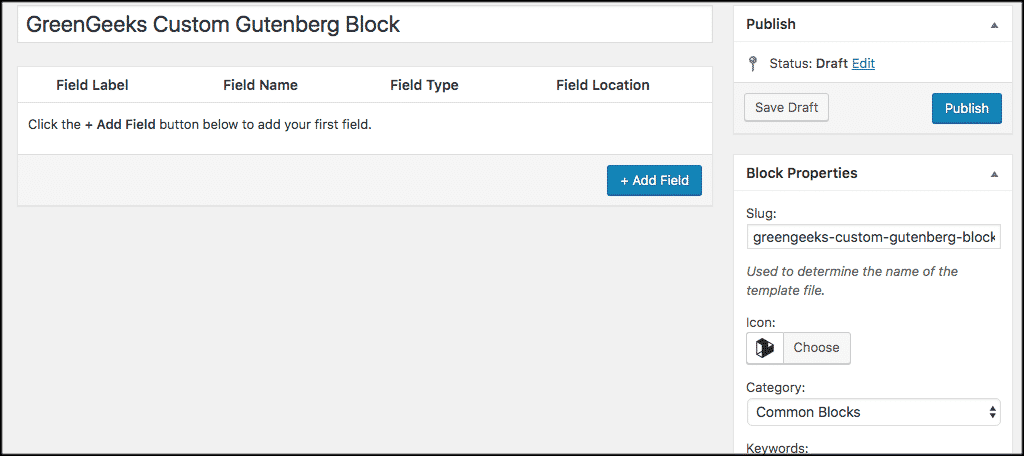 Create a new custom gutenberg block