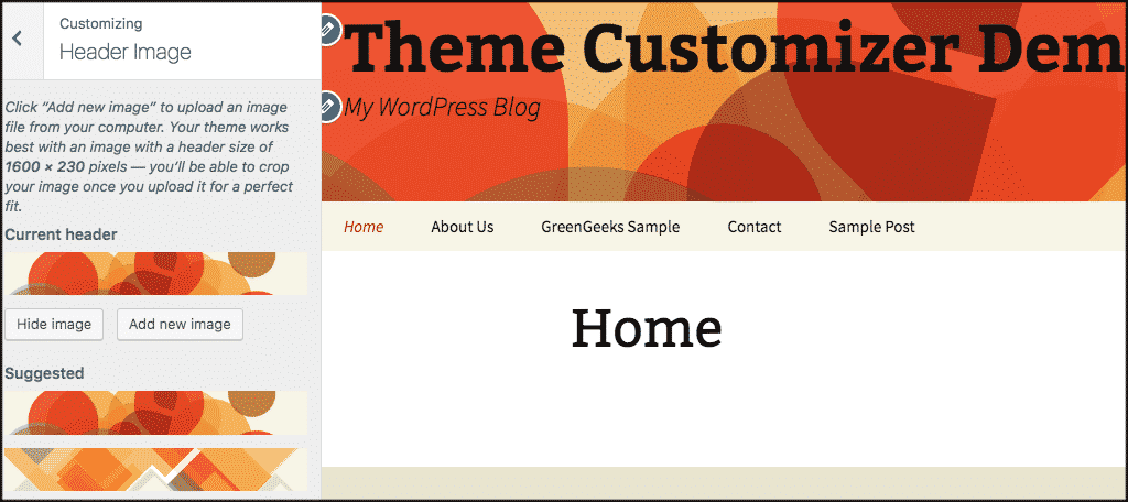 Header image panel in wordpress theme customizer