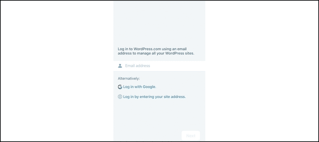 Wordpress mobile app login