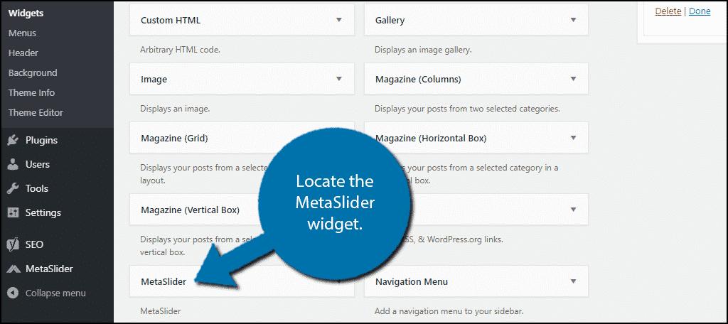Locate MetaSlider Widget
