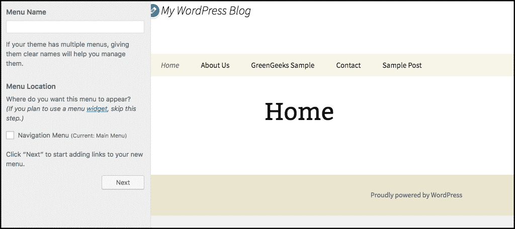 Click on next button in wordpress theme customizer