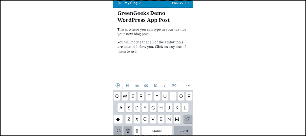 New post format in wordpress mobile app