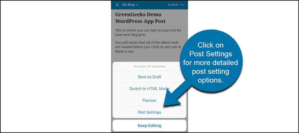 Click post settings for more detailed options