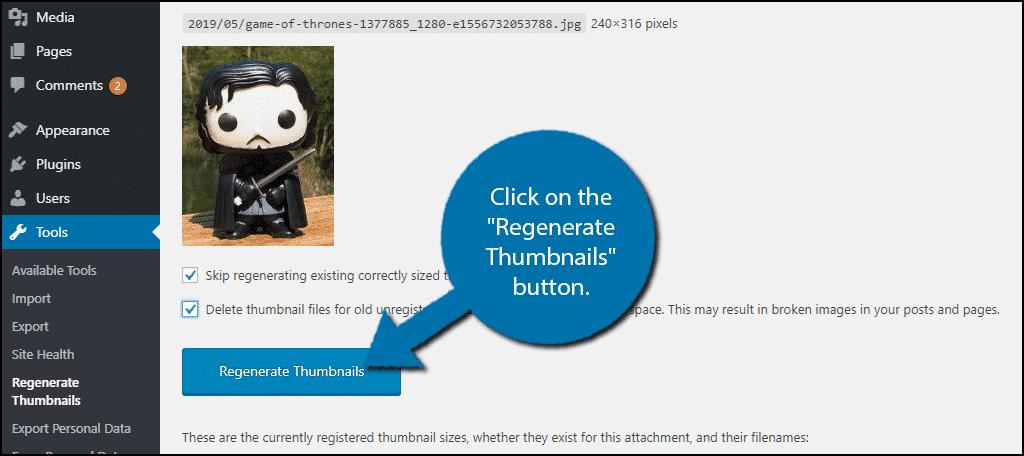 Regenerate Thumbnails Button