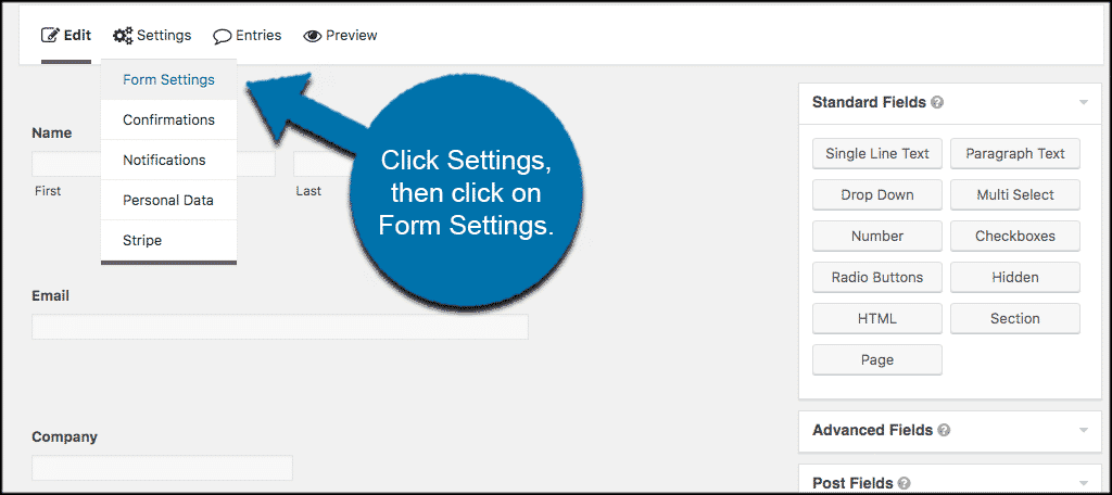 Settings then form settings