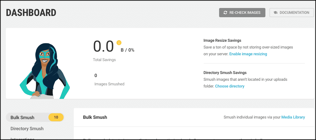 Smush wordpress image compression dashboard