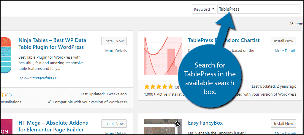 TablePress in WordPress