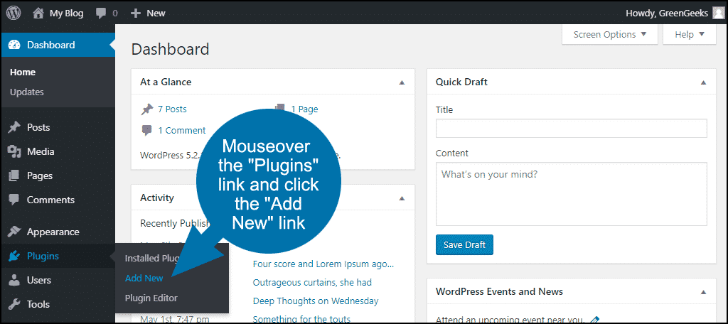 "mouseover the ""Plugins"" link and click the ""Add New"" link"